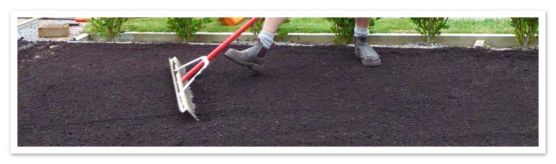 Raking soil flat