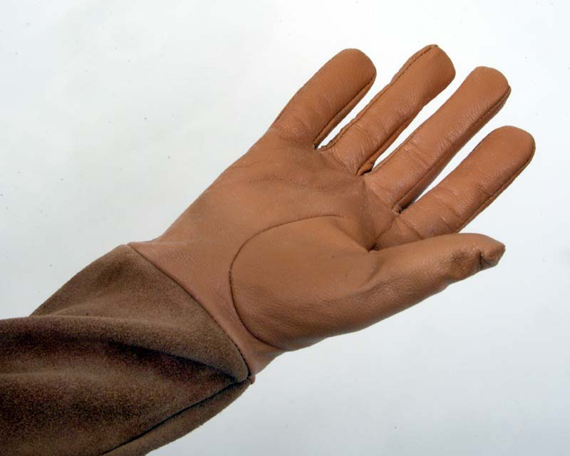 Scratch protector gloves in tan - palm side - N.B. all gloves have elastic at the wrist (not shown here)