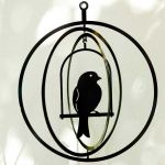 Bird in Circle Cage - suspended art