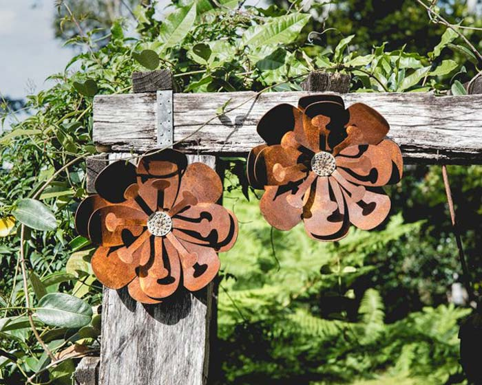 Wall flower made from Corten Weathering Steel