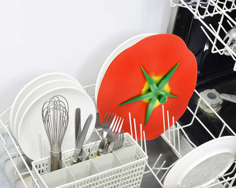 Charles Viancin silicone lids are dishwasher safe - Tomato Lid