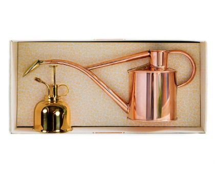 Haws 1litre indoor watering can in Copper and Spray Mister in Brass in attractive presentation box