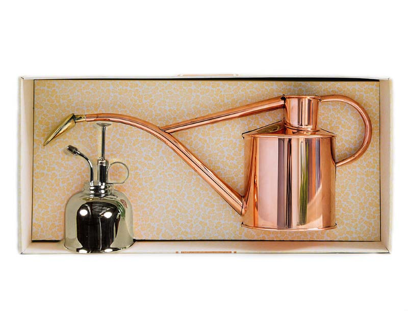 Presentation Gift Set - Haws Copper indoor watering can and Nickel Mister