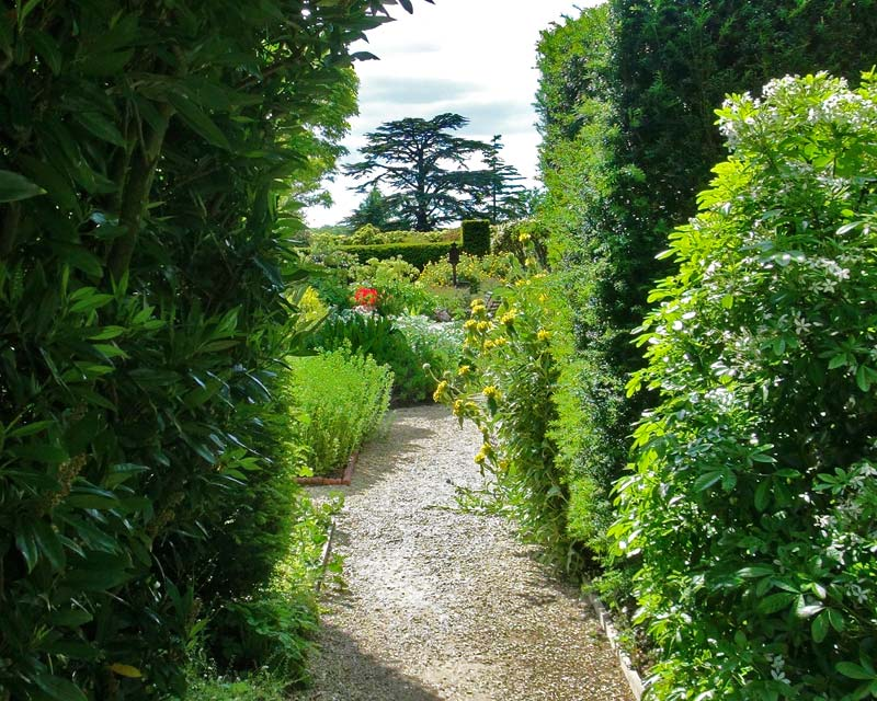 Doorways through topiary hedge walls, lead through to new and lush garden rooms - Loseley Park House