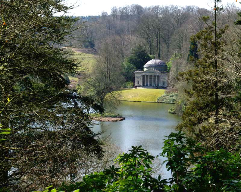 View across lake to Pantheon - Stourhead Gardens