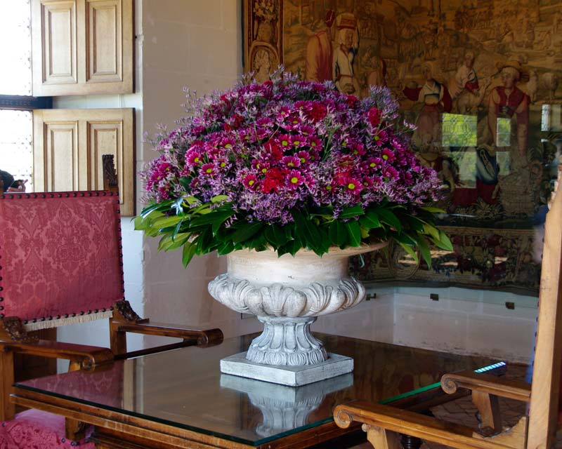 Bouquets in the Chateau de Chenonceau are made twice weekly from produce of the Flower Garden.