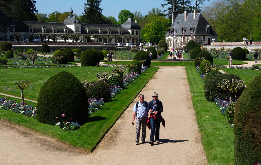 Diane de Poitier's garden - Chateau de Chenonceau - the Chancellor's House and Batiment de Domes in the background.