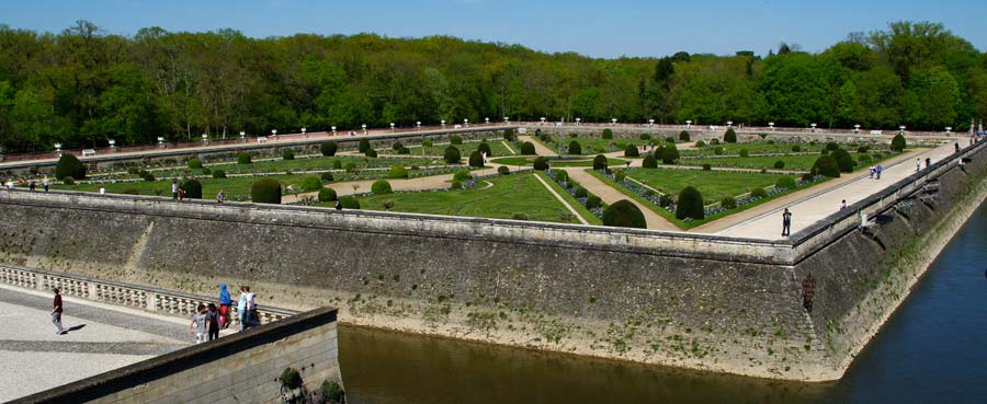 The Diane de Poitier garden from the castle - the river Cher also becomes the moat.  - Chateau de Chenonceau