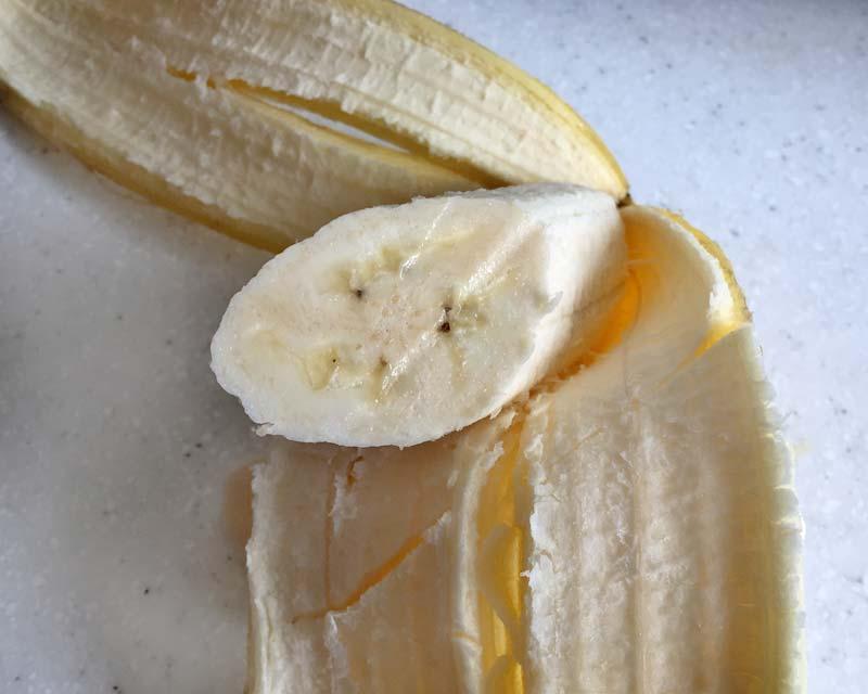 Musa x paradisiaca Lady Finger - the flesh seems denser and sweeter than regular bananas