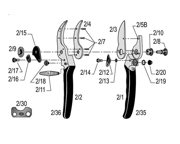 Diagram of Felco 2 showing the part in question being the spare blade Part#2/3