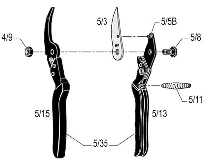 Diagram of Felco5 showing the part in question being the spare blade 5/3, which is also applicable for the model 160l Essentiel secateur
