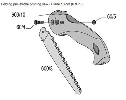Exploded diagram of Felco 600 folding saw - showing the 600/3 being the replacement blade