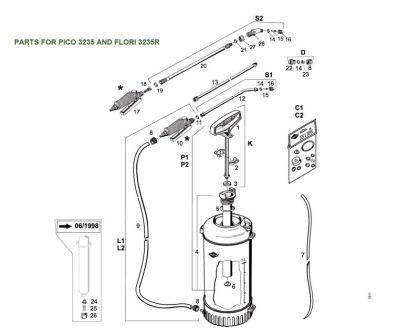 Spare parts diagram for Pico and Flori pressure sprayers