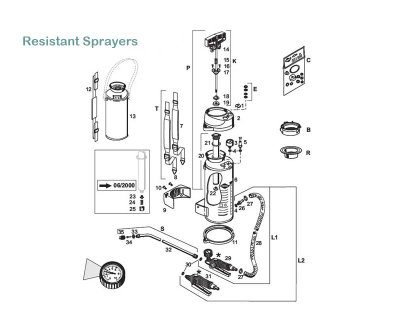 Resistant sprayers models #3600, 3600P, 3610, 3610P exploded diagram of parts