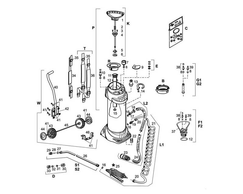 Inox exploded diagram of parts