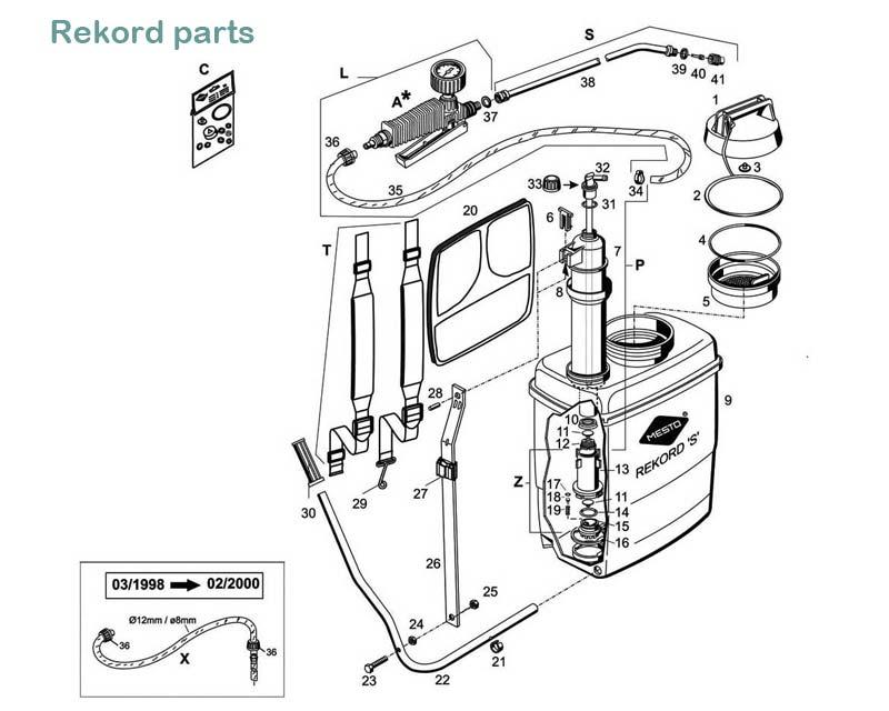 Rekord model#3533 - exploded diagram of parts