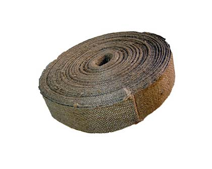 Roll of hessian for fixing or tying plants to stakes.  Hessian is gentler than plastic or string and will damage the trunk less.