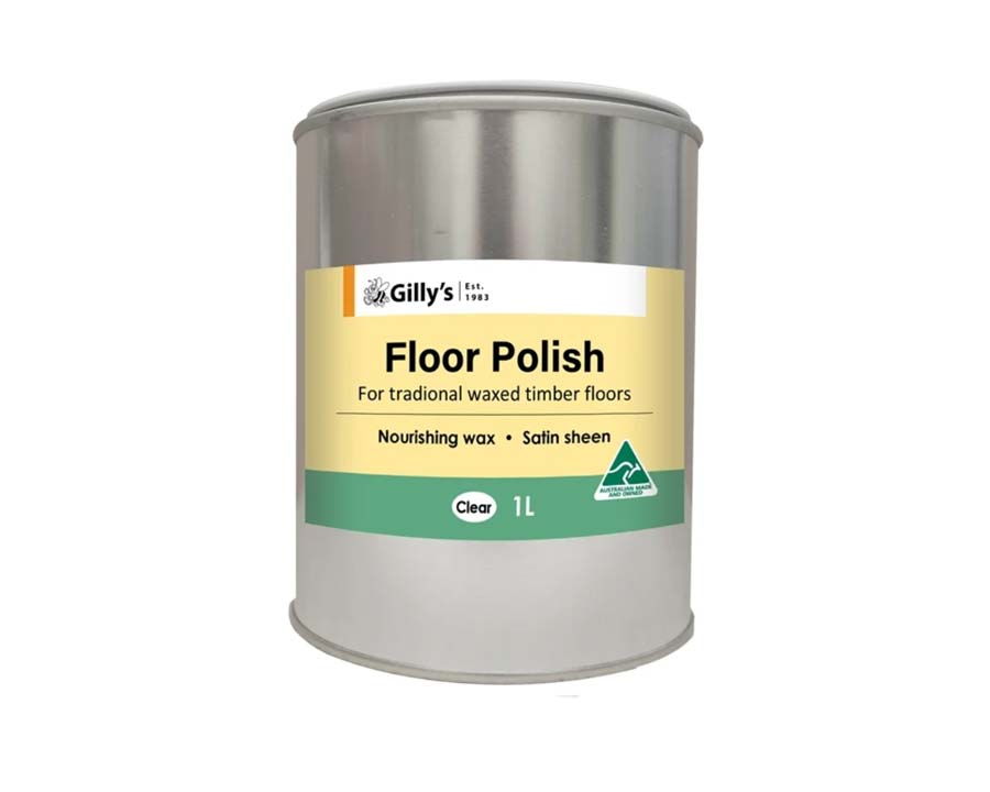 Gilly's Floor Polish, Clear Wax for Pale Wood - one litre can