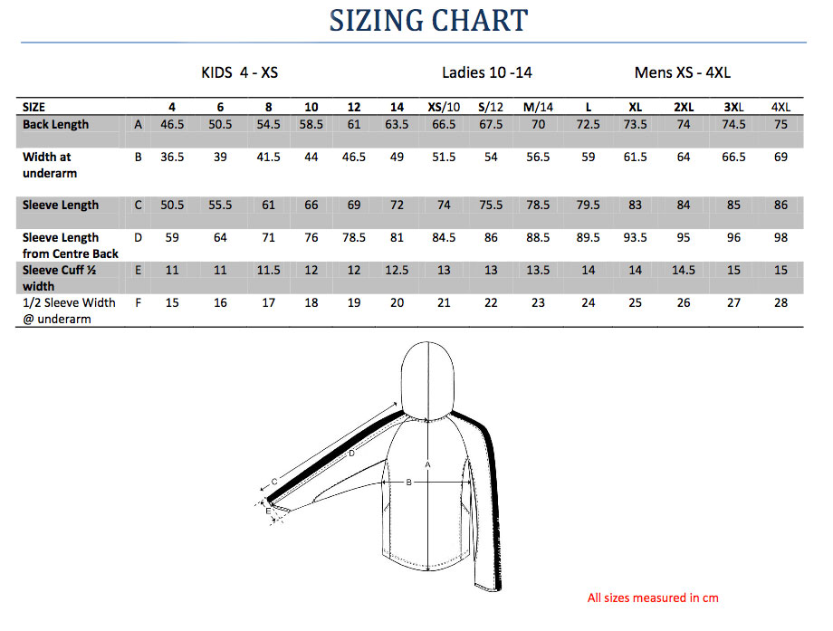 Sizing chart for the Sun Protection Hoodie