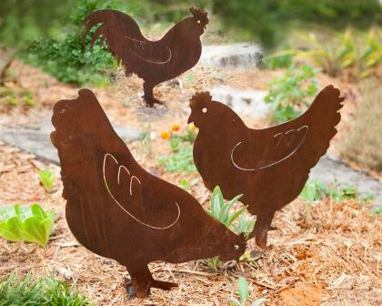 Rooster and two hens, whimsical decorative garden art