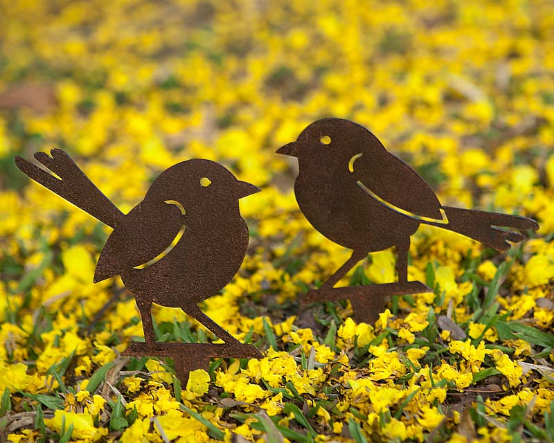 Wrens on the lawn - decorative garden art