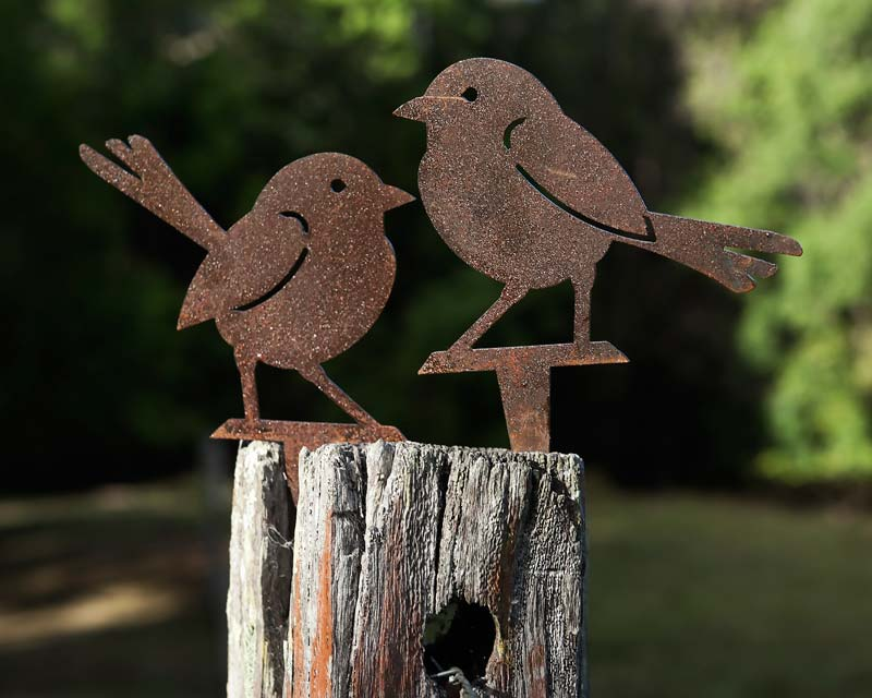 Pair of wrens - decorative garden art