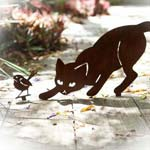Cat and Wren - decorative garden art
