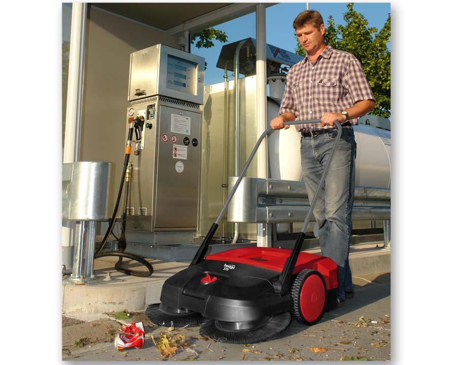 Haaga 375 mechanical outdoor sweeper in use