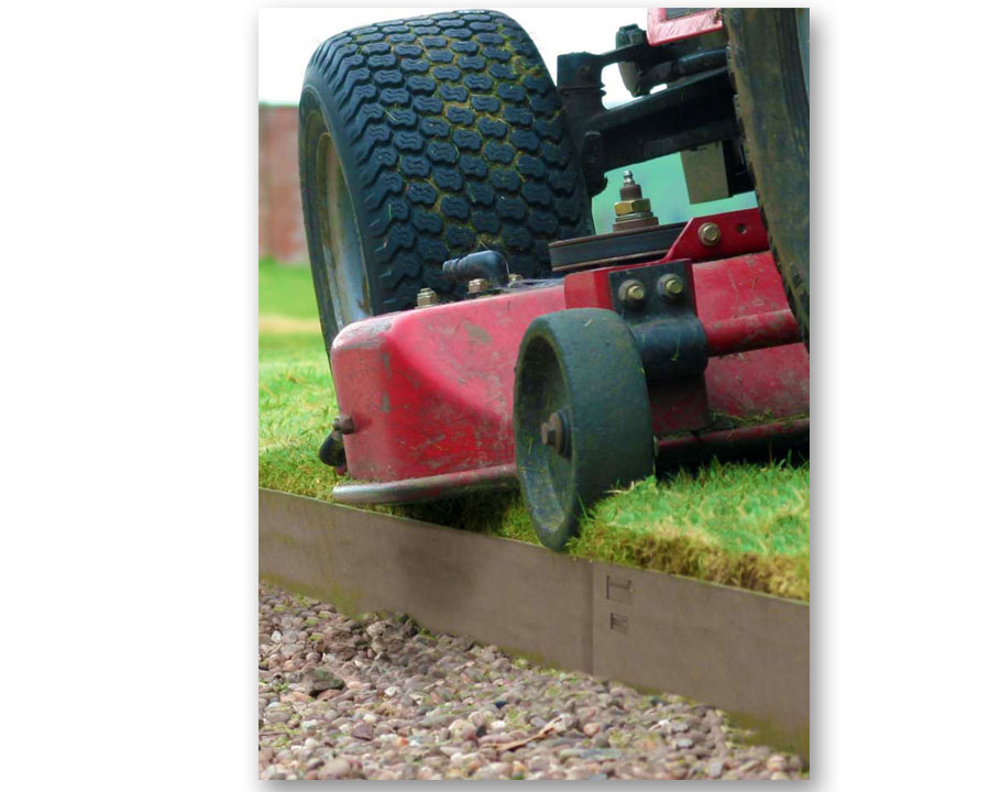 Designed to be mowed over for cleanest edge possible