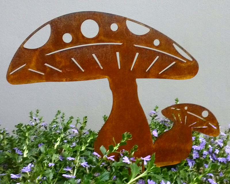 Mild steel sealed Mushrooms - garden art