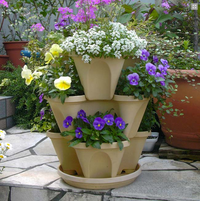 Stone coloured Mini-Stack-A-Pot
