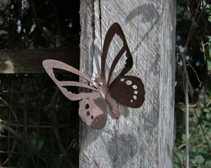 Wall butterfly cut from mild steel - decorative garden art