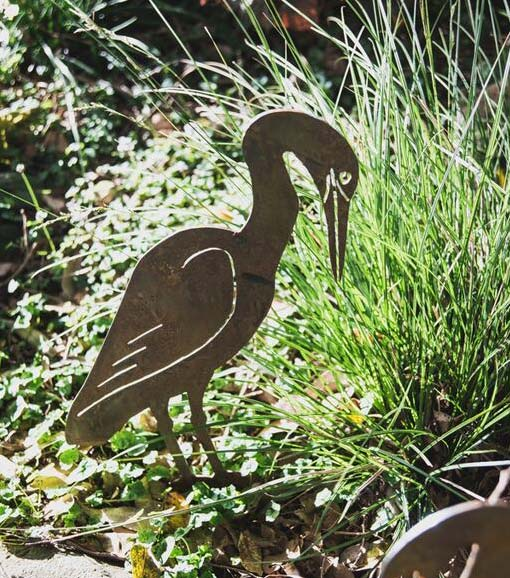 Egret bird - garden art cut from mild steel and sealed