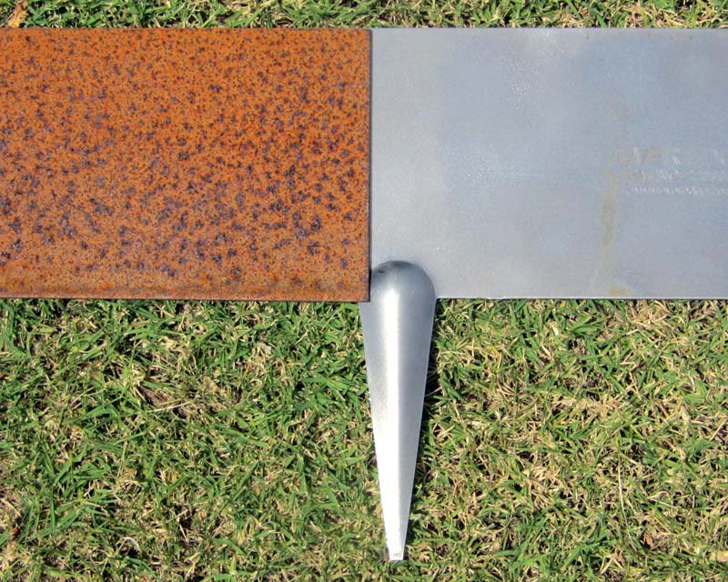 Everedge Cor-Ten, before and after the protective coat of rust forms.