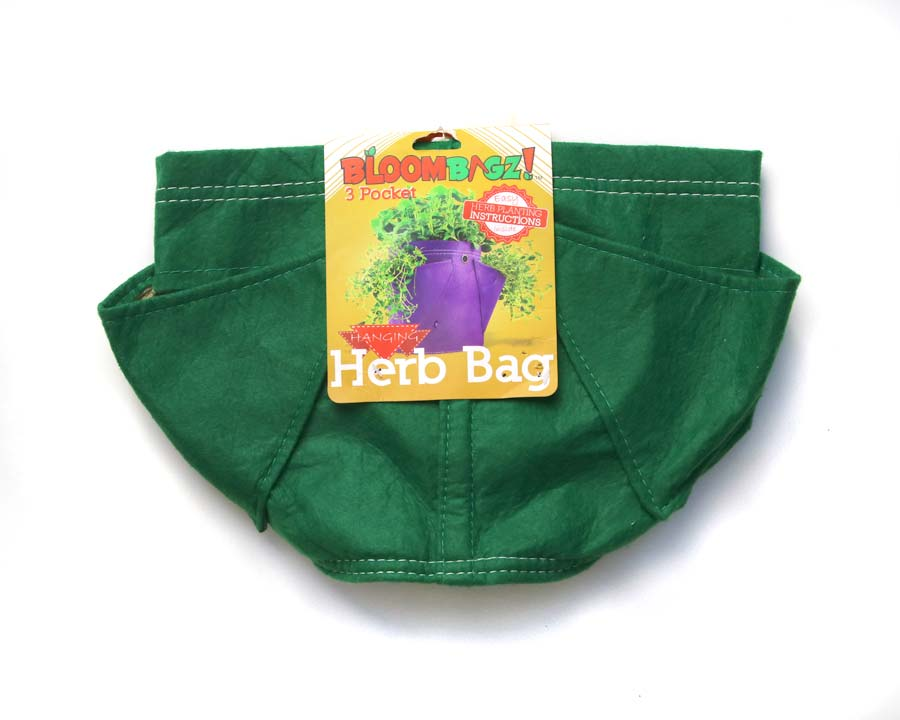 Folded down for storage - Green - 3 Pocket Fabric Planter - Bloombagz