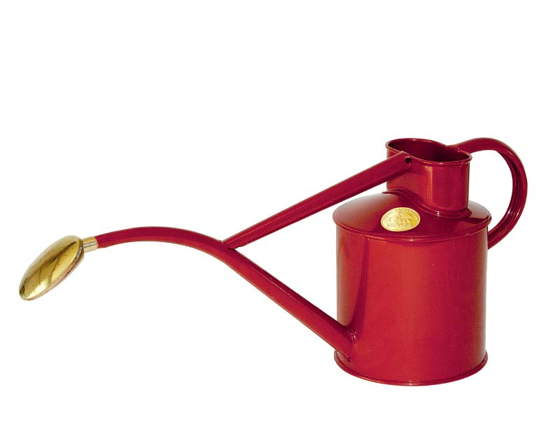 Haws powder coated metal 1 litre watering can in Burgundy