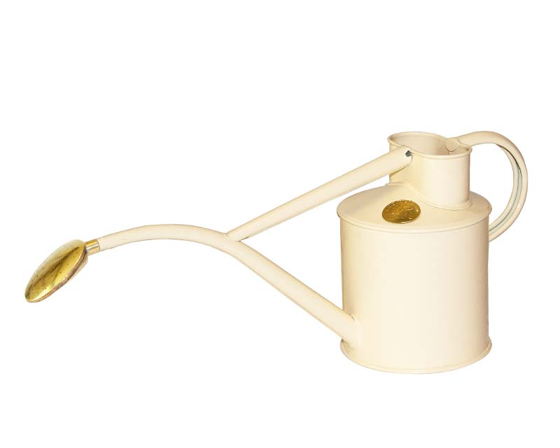 Haws powder coated metal 1 litre watering can in Cream