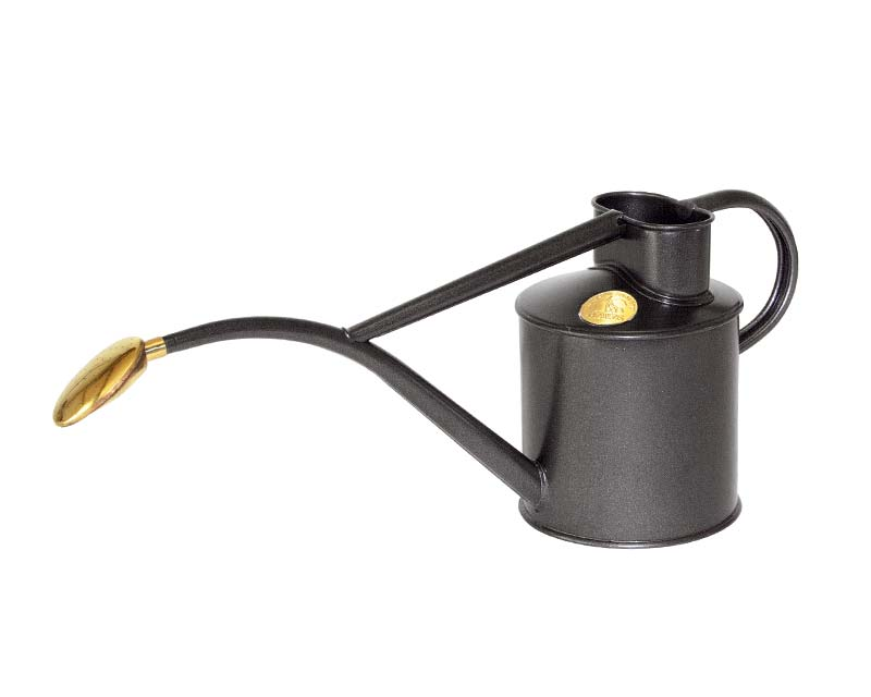Haws powder coated metal 1 litre watering can in Graphite