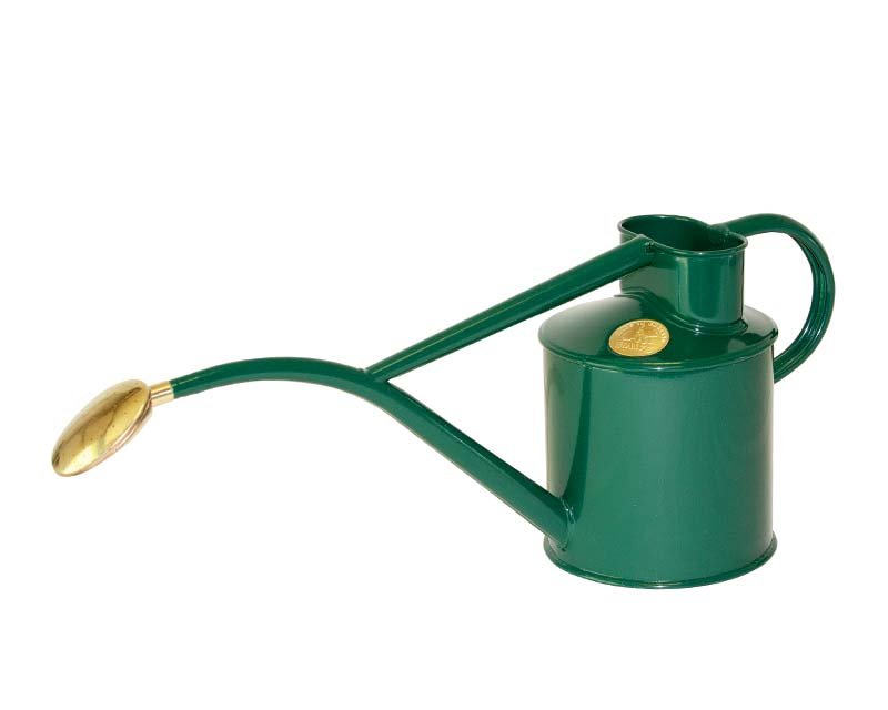 Haws powder coated metal 1 litre watering can in Green