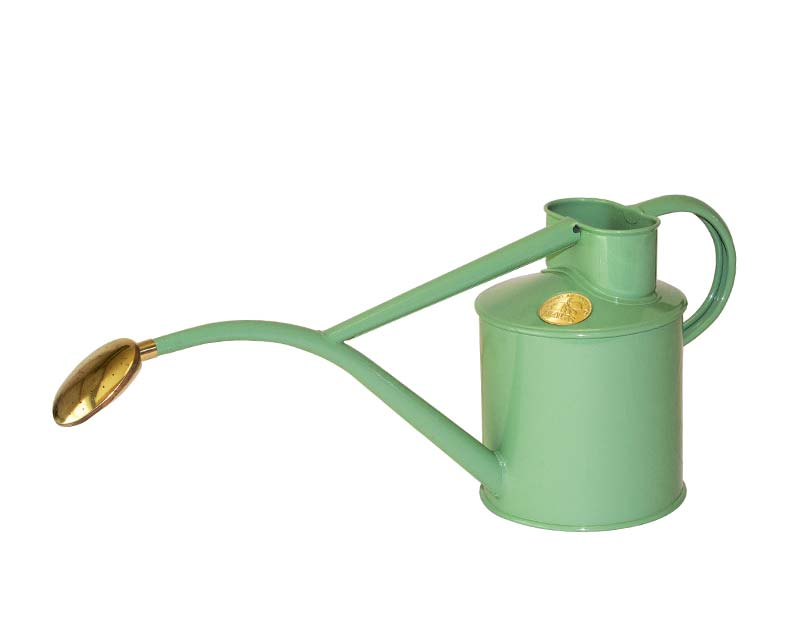 Haws powder coated metal 1 litre watering can in Sage
