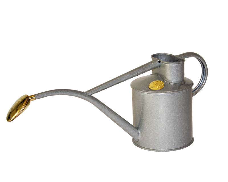 Haws powder coated metal 1 litre watering can in Titanium