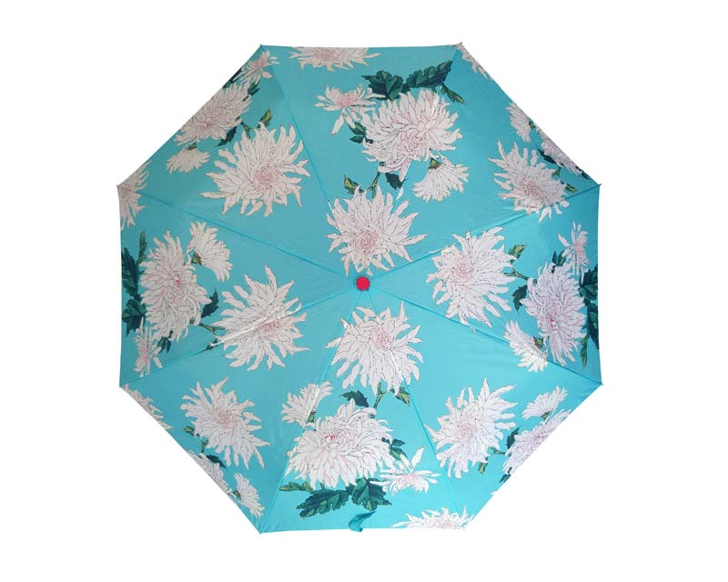 Compact umbrella in RHS Chrysanthemum design, by Burgon and Ball