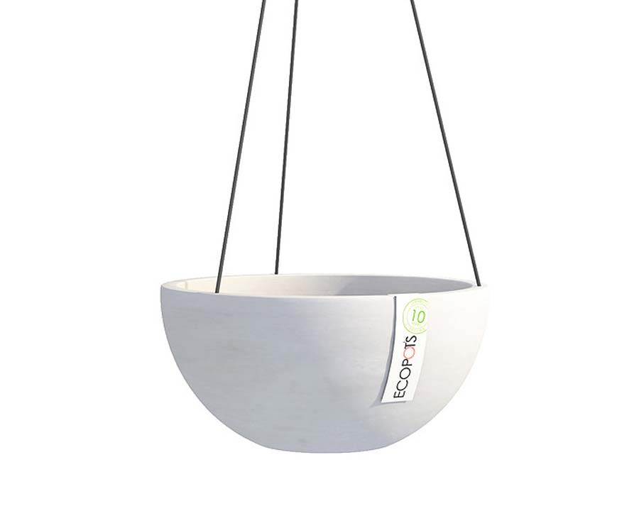 Hanging Brussels in White Grey - ECOPOTS