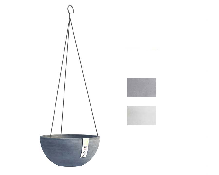 Hanging Brussels part of Ecopot range - available in Blue Grey and White Grey.