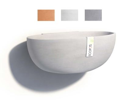 Wall mounted Sofia pots, part of the Ecopot range - available in Terracotta, White Grey and Blue Grey