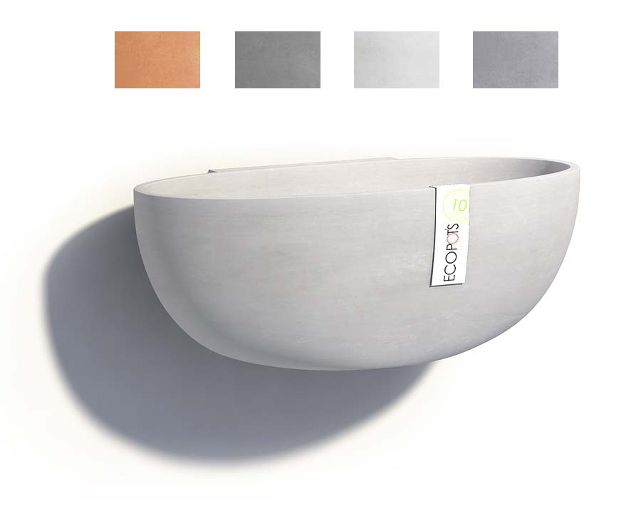 Wall mounted Sofia pots, part of the Ecopot range - available in Terracotta, Grey, White Grey and Blue Grey