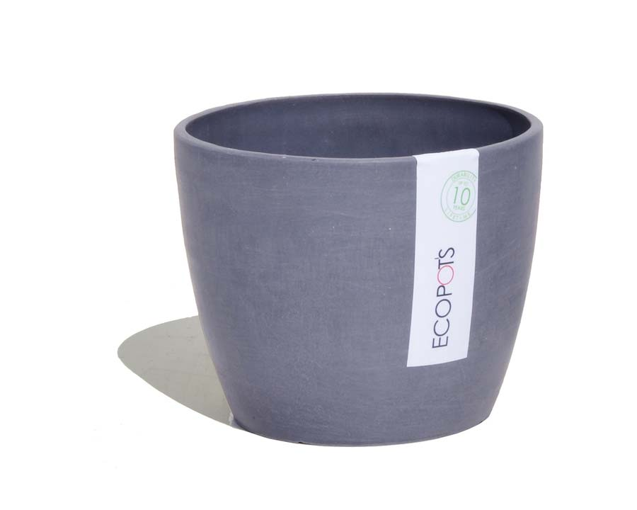 Stockholm pots in Blue Grey - part of the ECOPOTS range. Also available on White Grey