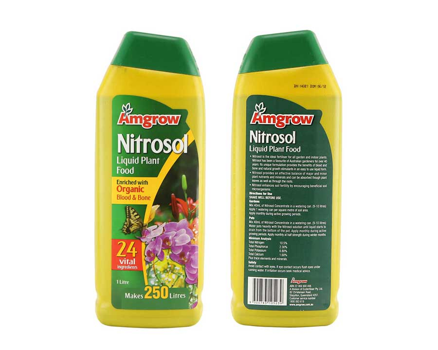 Nitrosol liquid plant food.