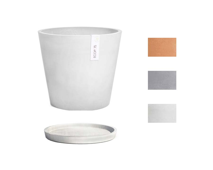 Amsterdam 20 Pots and Saucers sold separately ECOPOTS - Available in Terracotta,Blue Grey and White Grey