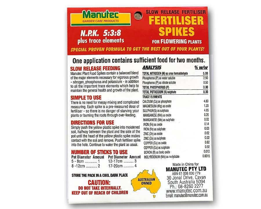 Manutec Fertiliser spikes or flowering Plants, package rear panel